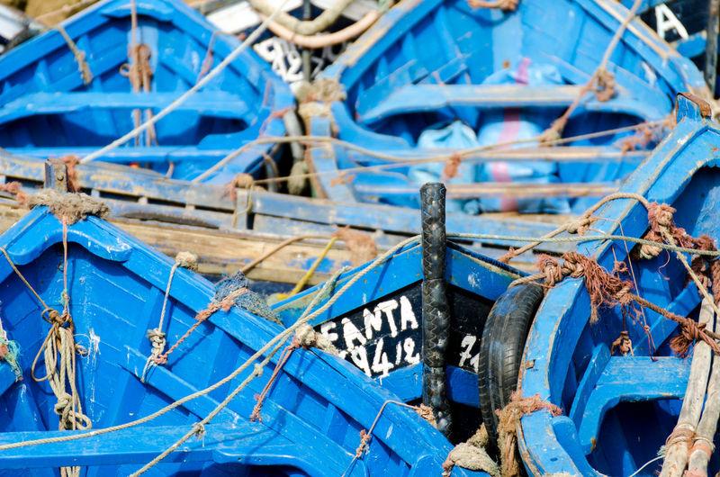 Close-up of abandoned fishing boat