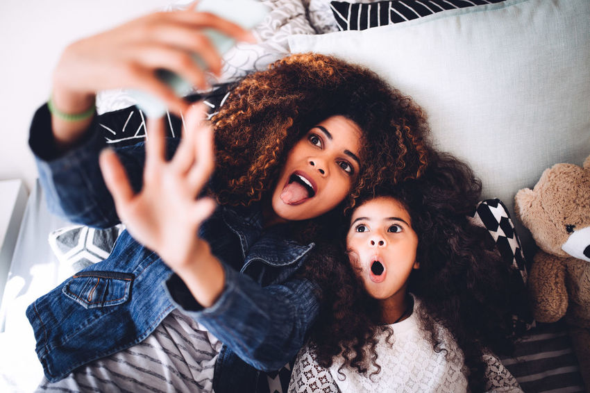 5 Years Old Afro Bed Children Fun Happiness Happy Home Kids Life Mother Taking Photos Afrohair Child Childhood Daughter Girl Kid Little Girl Mom Phone Selfie Smartphone Social Media