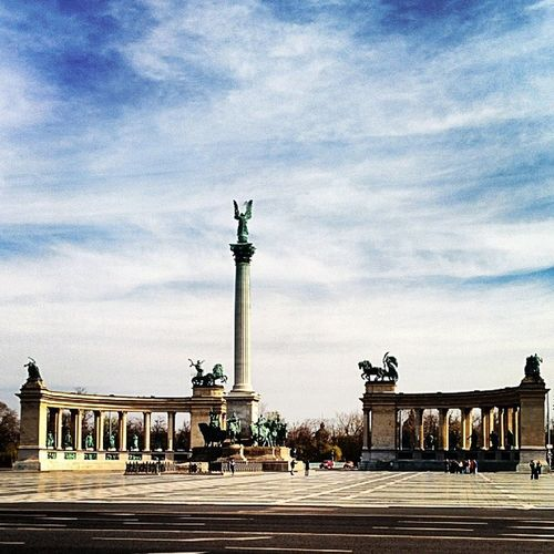 Heroes Square Budapest Hungary beautiful view panorama cloud