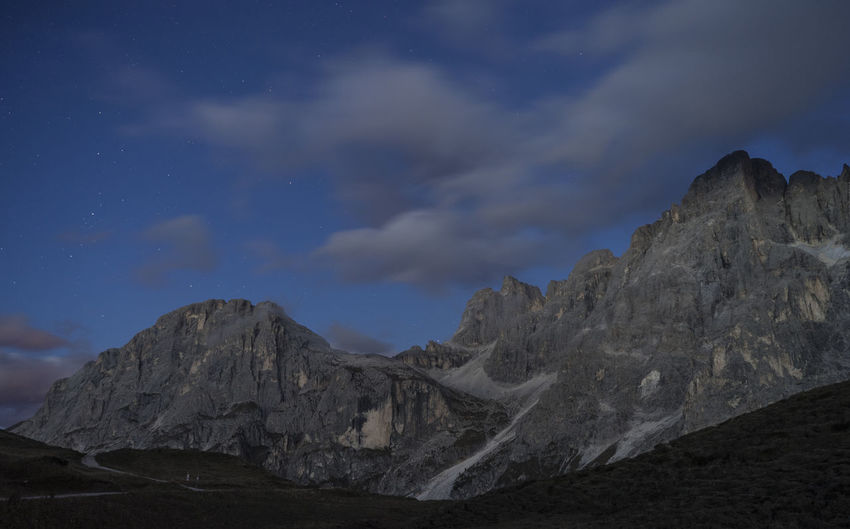 Low angle view of rocky mountains against sky
