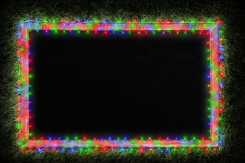 Illuminated multi colored lights at night