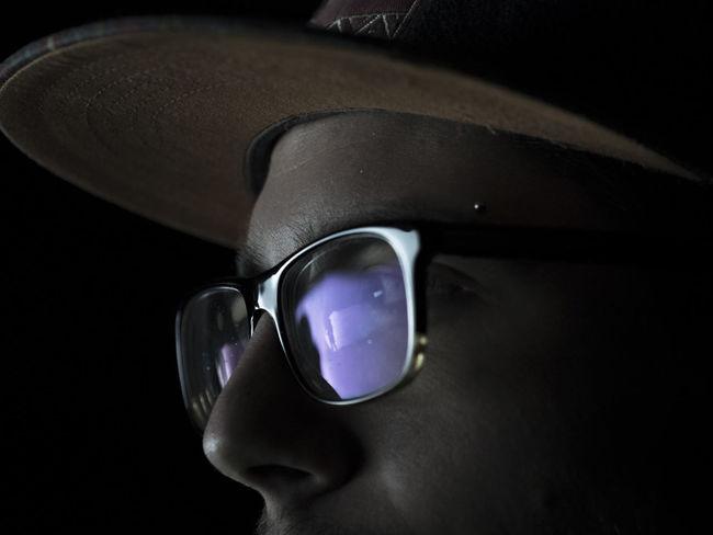 Close-up Dark Photography Dark Portrait Fear Of The Dark Glass Reflection Glasses Lightshow Portait Of A Men Reflection Reflection_collection Signal Festival