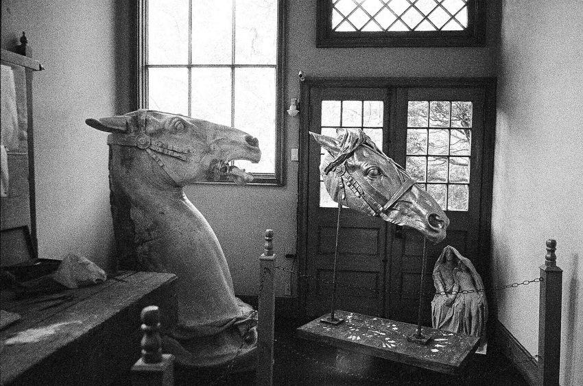 Animal Themes Figurine  Horse Sculpture Klasse W Blk N Wht Window No People Indoors  Ilford Delta 3200 Art Studio Augustus St Gaudins New Hampshire Grainy Images Koduckgirl Film Artist
