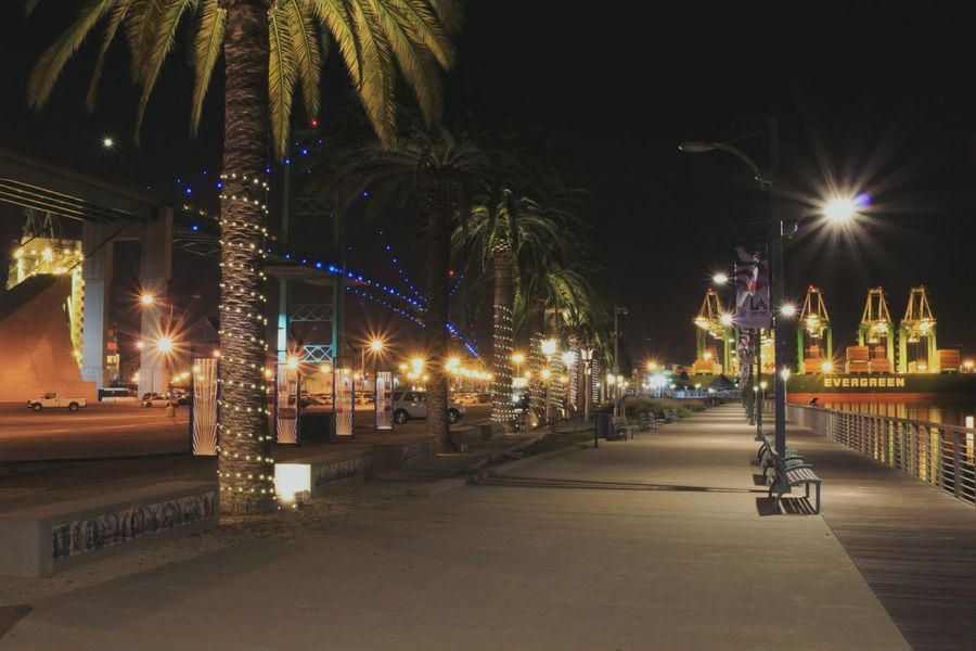 Lights will guide you home.. Sanpedro Palm Trees Vincent Thomas Bridge Night Stalker Night Shots  Lostinla Discover LA Agameoftones Pictureoftheday 06Nov2017