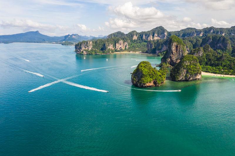 High angle seascape view at krabi thailand