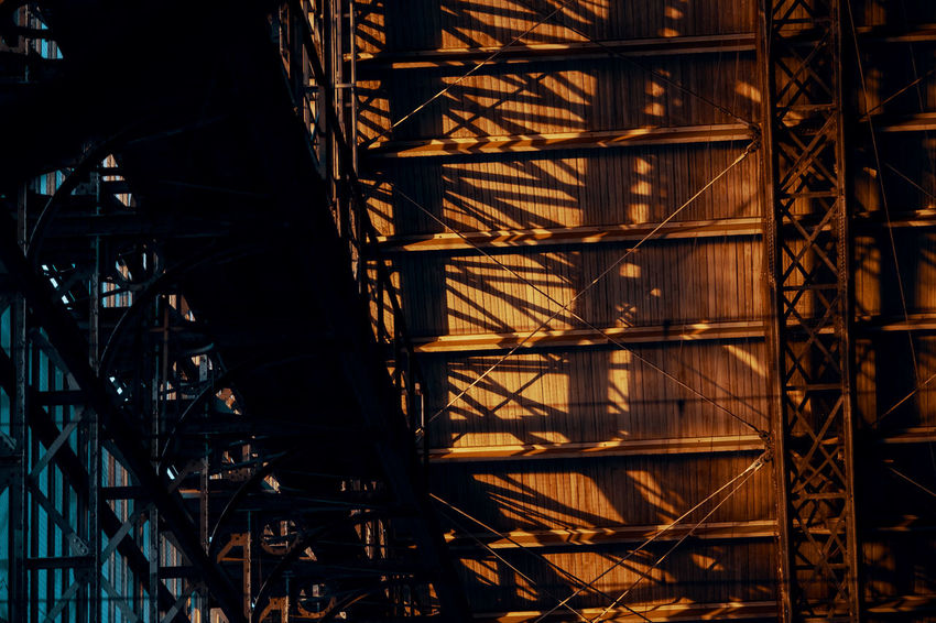 MORNING LIGHTS Twodayscologne Built Structure Architecture Low Angle View Building Exterior No People Outdoors Illuminated Morning Light Metal Construction Industry Industry Night Construction Site Scaffolding Nature Pattern Staircase Shadow Building