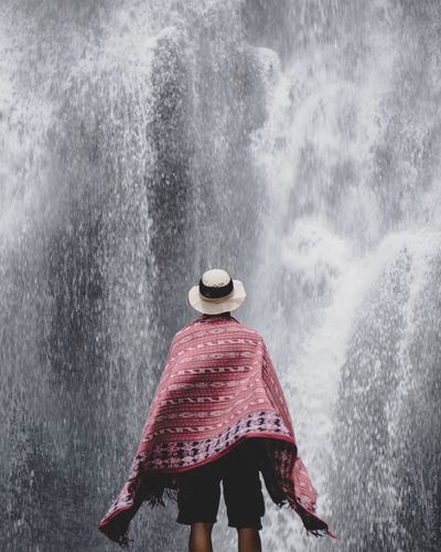 Wander to know the wonder. Weather Covering Nature Outdoors Wild INDONESIA Flowing Water Waterfall TakeoverContrast Outdoor Photography Wanderlust Snow Winter Cold Temperature Season  Road Three Quarter Length Warm Clothing Leisure Activity Day Red Non-urban Scene