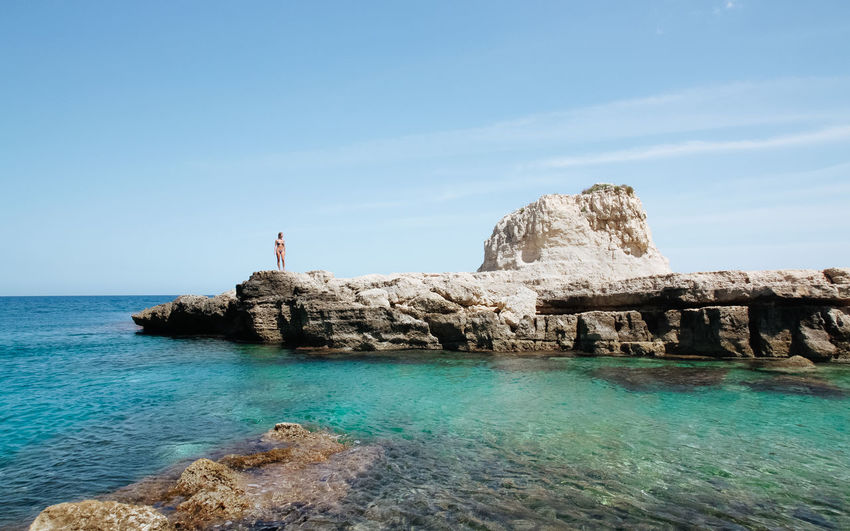 Contemplation Diving Lonely Seascape Photography Sicilia Sicily Siracusa Summertime Your Ticket To Europe Beauty In Nature Bikini Full Length Horizon Over Water Leisure Activity One Person Outdoors Real People Scenics Sea And Rocks Standing Summer ☀ Tranquil Scene Tranquility Turquoise Water Woman Portrait