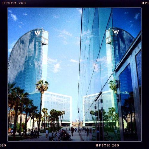 Barcelona W Beach Reflection Summer Palm Trees Blue Sky Amazing Architecture