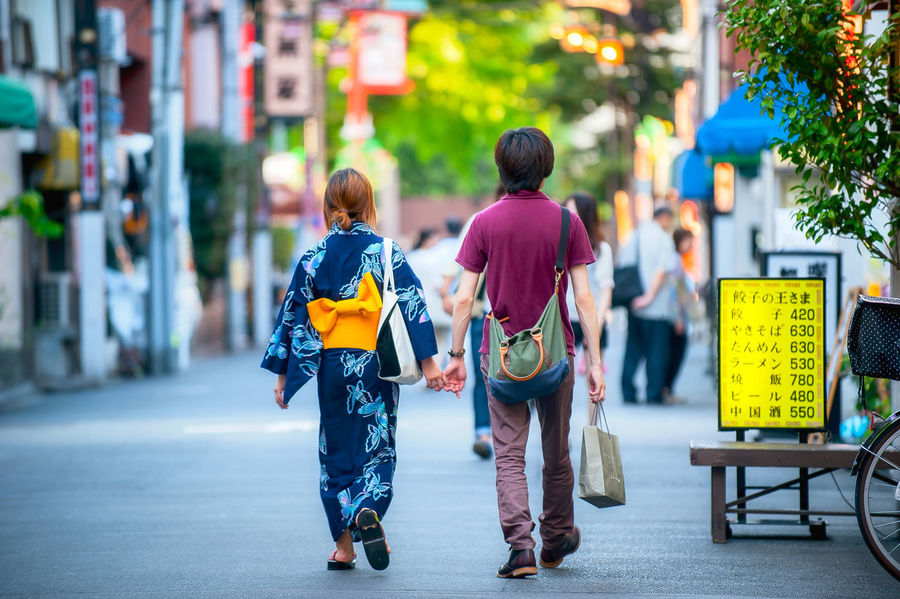 Couple walking in the streets of Tokyo. Japan Japanese Culture Japanese Style Love Tokyo Tokyo Street Photography Adult Asakusa City City Life Couple - Relationship Day Full Length Kimono Lifestyles Men Outdoors People Real People Rear View Street Streetphotography Two People Walking Women