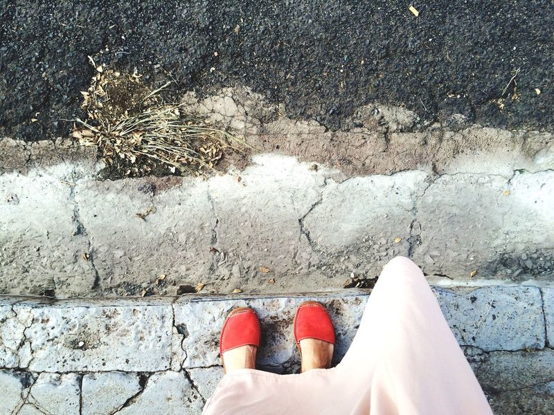 Feet Feetselfie Shoes Avarcas Menorquinas Footwear Red Personal Perspective Outdoors Low Section Brasil Concrete Jungle Woman Person Eyeemphoto