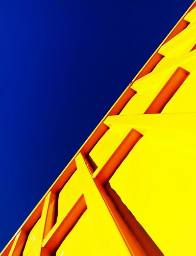Colourful Blue And Yellow Blue Sky Construction Shape Steel Structure  Steel Container Shipping Container Bright Colors Bold Colors Linner a Lines And Shapes POVshots POV Point Of View Deery
