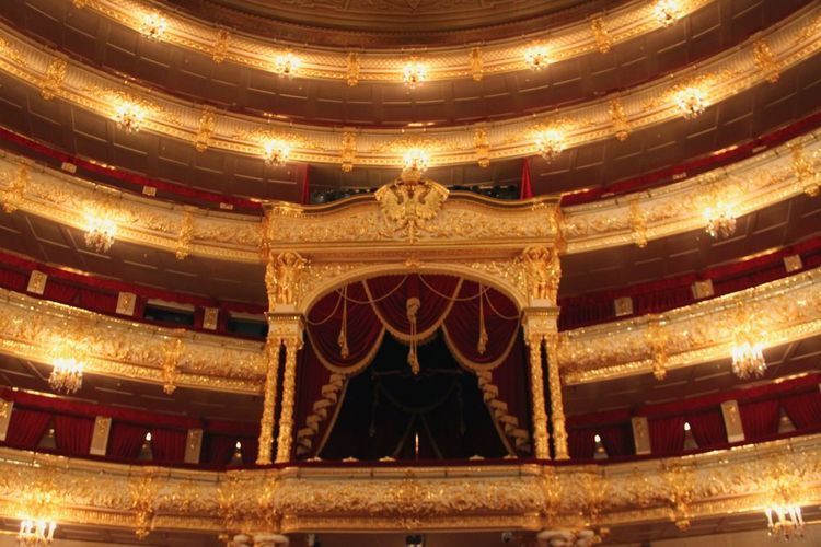 Decoration Cultures Arts Culture And Entertainment Event Balcony Chair Nightlife Indoors  Musical Theater  Box Royal Box Royal Golden Indoors  Illuminated Architecture No People BolshoiTheatre Bolshoi Theatre Bolshoi Theater Moscow, Москва Moscow, Russia Luxury Performing Arts Event Vip