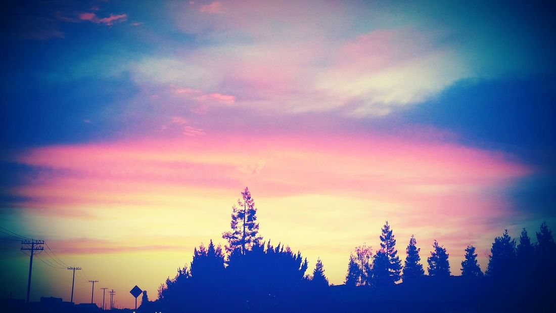 Beautiful view I caught going home one day Sunset Skies Trees And Sky Peace And Quiet