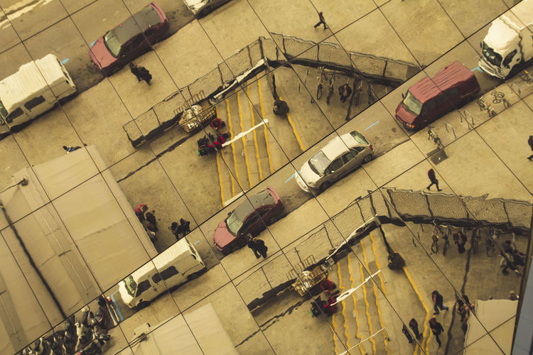 Abstract street reflections High Angle View Group Of People Transportation Travel Mode Of Transportation Real People Architecture Large Group Of People Men Crowd Indoors  City Women Day Street Travel Destinations Land Vehicle Walking