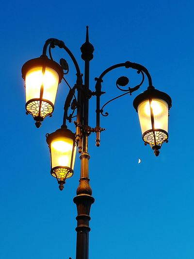 Light Equipment Summer Evening Moon Slice City Illuminated Lantern Clear Sky Blue Street Light Electric Light Sky