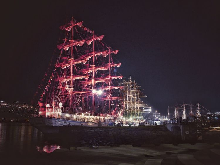 Night in Tallships , Nagasaki Seaside Park : Night Photography Illumination Looking Into The Future Landscape Perspective Photography / GX1 LUMIX G Vario 28mm Snapseed_HDR Nagasa-Kirei ( ナガサキレイ )