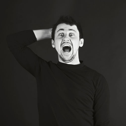 My Best Photo Portrait Front View Studio Shot Mouth Open Looking At Camera Mouth Indoors  One Person Casual Clothing Young Men Young Adult Waist Up Men T-shirt Standing Black Background Surprise Shock Eyebrow