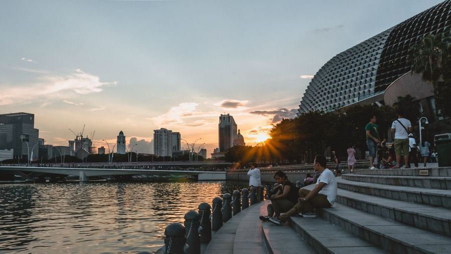 Chrome. Sun Star 16:9 Singapore Architecture Building Exterior Sky Built Structure City Sunset Water Real People Leisure Activity City Life Cloud - Sky First Eyeem Photo