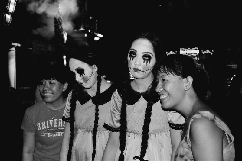 Halloween Horror Nights Makeuptransformation Halloween Horrors Night Halloween Makeup Human Doll Portrait Smiling Togetherness Leisure Activity Portrait Person Young Women Lifestyles Young Adult Happiness Looking At Camera Front View Casual Clothing Headshot Person Beauty Person Looking