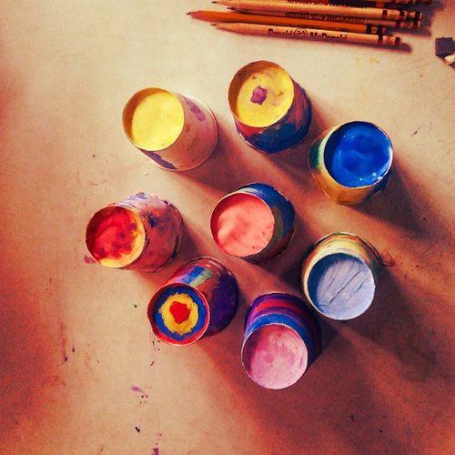Kiddie art PaperCups Painting EcofriendlyCraft Sociology CIP