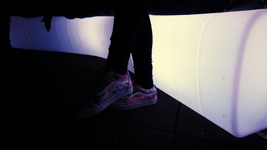 Low Section Human Leg One Person One Woman Only Close-up Night Night Lights Purple Light In The Darkness