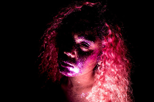 Fun Glitter Pink Rose Adult Beautiful Woman Beauty Black Background Close-up Dyed Hair Face Paint Headshot Human Body Part Human Face Human Hair Indoors  One Person Pink Flowers Pink Glitter Pink Hair Pink Hair Dont Care  Pinlove Portrait Real People Studio Shot Women