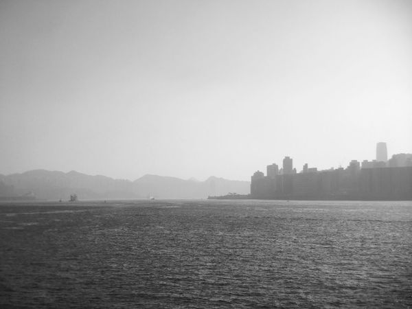 Water Mountain Nature Outdoors No People Building Exterior Scenics Beauty In Nature Tranquility Architecture Day Tranquil Scene Black And White Black & White Victoria Harbour Light And Shadow Foggy Foggy Day Spring City Landscape Sky