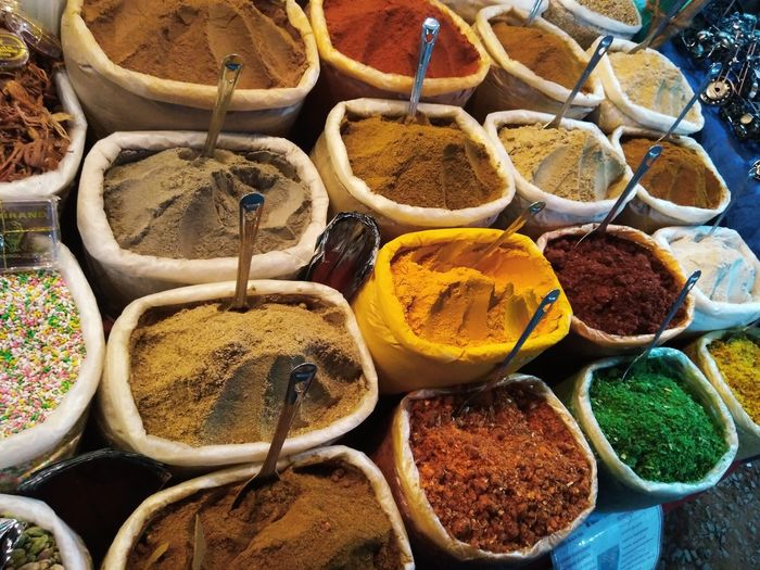 High angle view of spices for sale at market stall