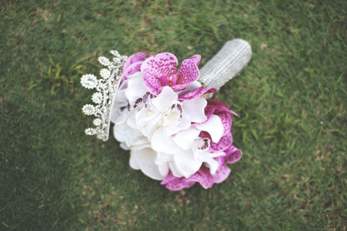 Wedding Groom Bride Flower Handmade Flower Hand Flower Pink Color No People Outdoors Day Grass High Angle View Nature Close-up Flower Head Beauty In Nature Freshness