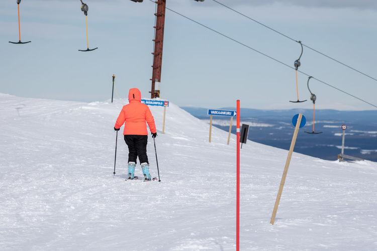 Lapland, Finland Athlete Headwear Snow Full Length Sport Winter Cold Temperature Sportsman Winter Sport Skill  Ski Lift Ski Holiday Skiing Ski-wear Ski Slope Ski Resort