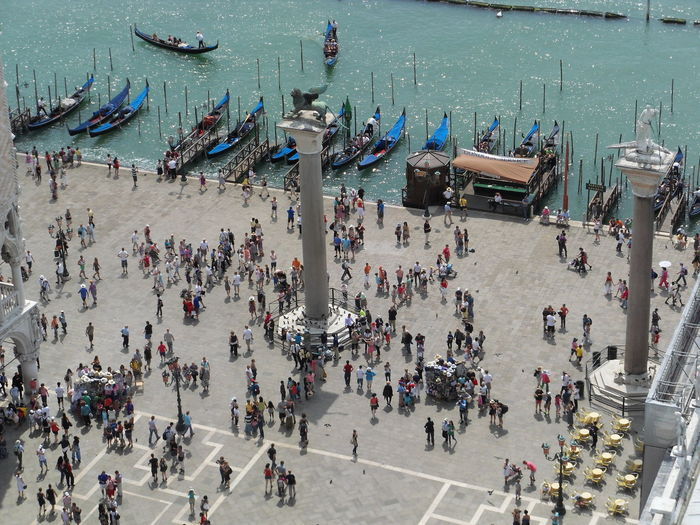High angle view of people on marcus place in venice