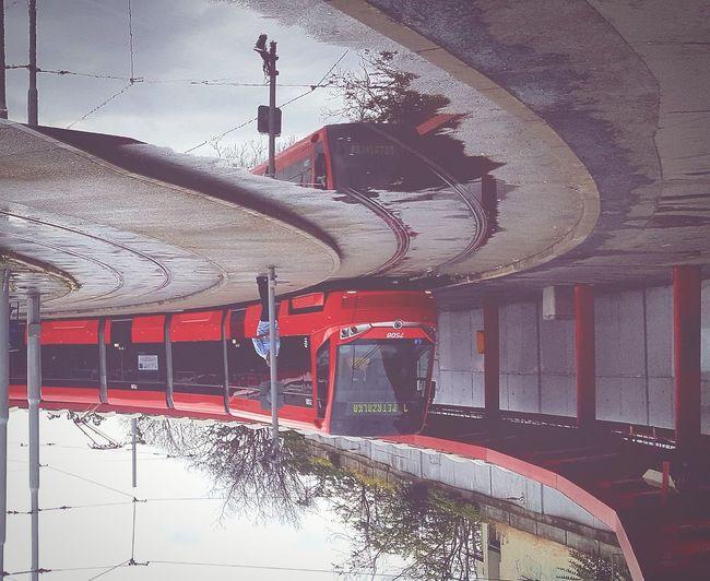Bratislava, Slovakia Petrzalka Train Train Tracks Trainstation Water Reflections Reflection Bus Rainy Upside Down Photography Upsidedown Strettphotograpy BestEyeemShots Photography The Street Photographer - 2018 EyeEm Awards