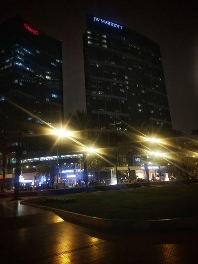 Night Cityscape Skyscraper Building Exterior Illuminated