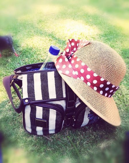 Grass Field Day No People Close-up Nature Outdoors Handbag  Stipes Hat Straw Hat Femine