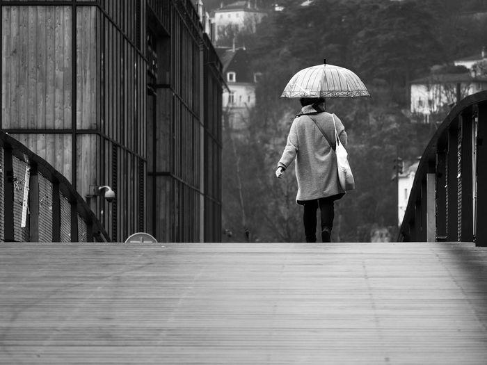 City Rain Black And White Bridge Day Daylight Monochrome Umbrella Women