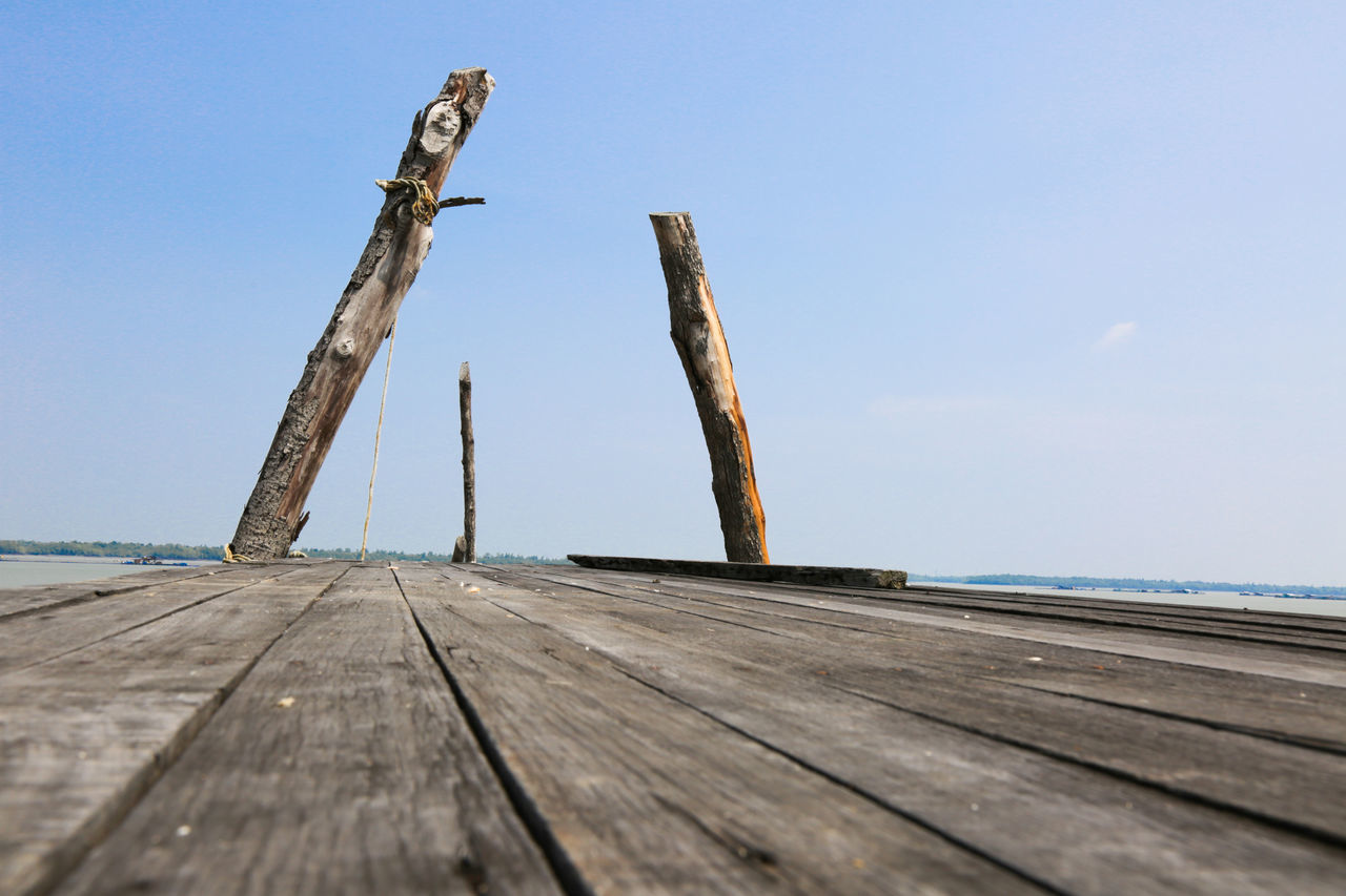 Surface Level Of Jetty Against Clear Sky