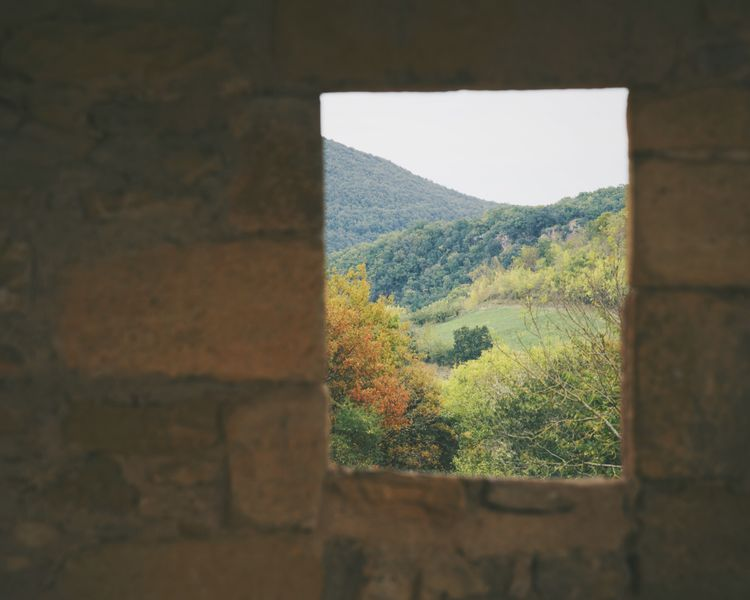 Window Forest Fall Autumn Colors Midi-Pyrenees Stone