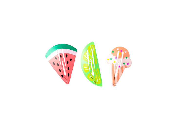 Colored hair clips isolated on white background. Close-up White Background Hairstyle Hairclip Fashion Pastel Colorful Accessories Festival Happy New Year Star Fruit Design Young Kid Females Brooch Style Hairpin Clip Color Heart Decoration Beautiful Cosmetics