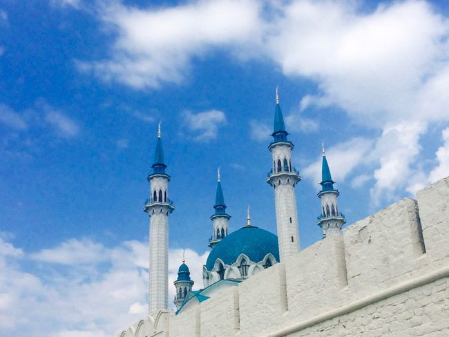 Kazan Kremlin includes Islam mosque and Christian Church. Wonderful and full of peace place. Architecture Blue Blue And White Built Structure Cloud - Sky High Section Kazan Kazan Kremlin Low Angle View Mosque No People Outdoors Russia Tourism Tower Travel Destinations Travel Photography Traveling White And Blue казань