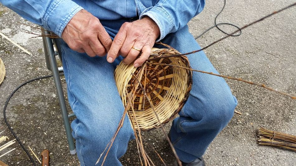 Adult Adults Only Artisan Close-up Day Handmade High Angle View Human Body Part Human Hand Men One Man Only One Person Only Men Outdoors People Real People Wicker Wicker Basket Wickerwork Working