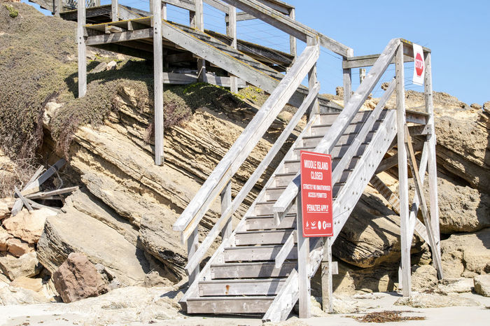 Middle Island, Warrnambool, the island featured in the movie 'Oddball' where the Maremmas live on the island to protect the penguins from foxes. Entrance Entry Middle Island Sign Steps Boardwalk Closed Closed Sign Communication Do Not Enter Sign Guidance Nature No People Outdoors Rock Rock - Object Sign Steps And Staircases Stop Stop Sign Up Warrnambool Way Up Wooden Stairs Wooden Structure