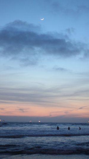 Huntington Beach. Sea Water Sky Moon Horizon Over Water Beauty In Nature Seascape First Eyeem Photo