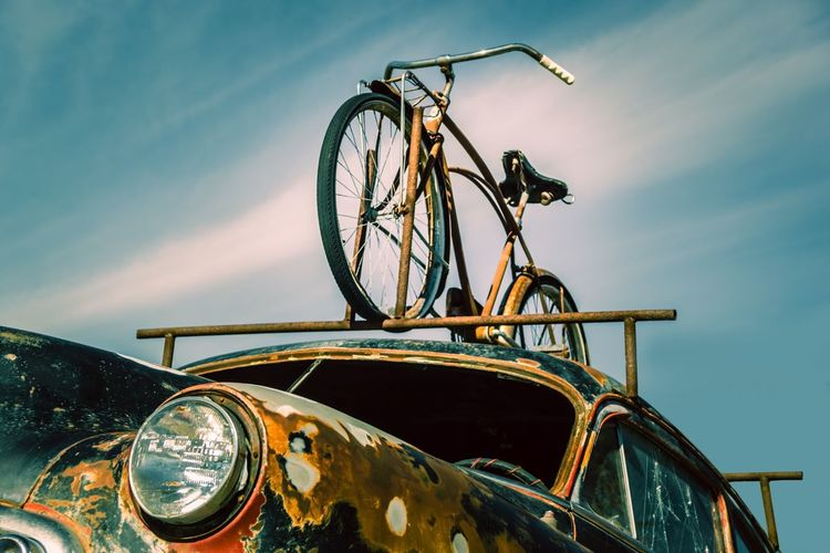 Vintage mode of transportation Transportation Mode Of Transport Land Vehicle Outdoors Sky Stationary Wheel Day No People Nature Close-up The Week On EyeEm Bike Old Vintage Rusty Bicycle Transportation Mode Of Transportation Low Angle View Clear Sky Rusty Goodness Old But Awesome
