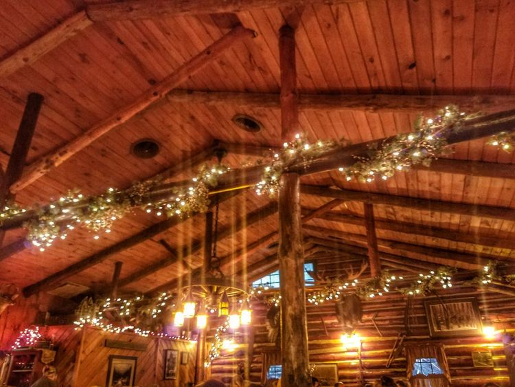 Illuminated Ceiling Low Angle View Indoors  Lighting Equipment Built Structure Architecture No People Night Christmas Wooden Structure Rustic Style