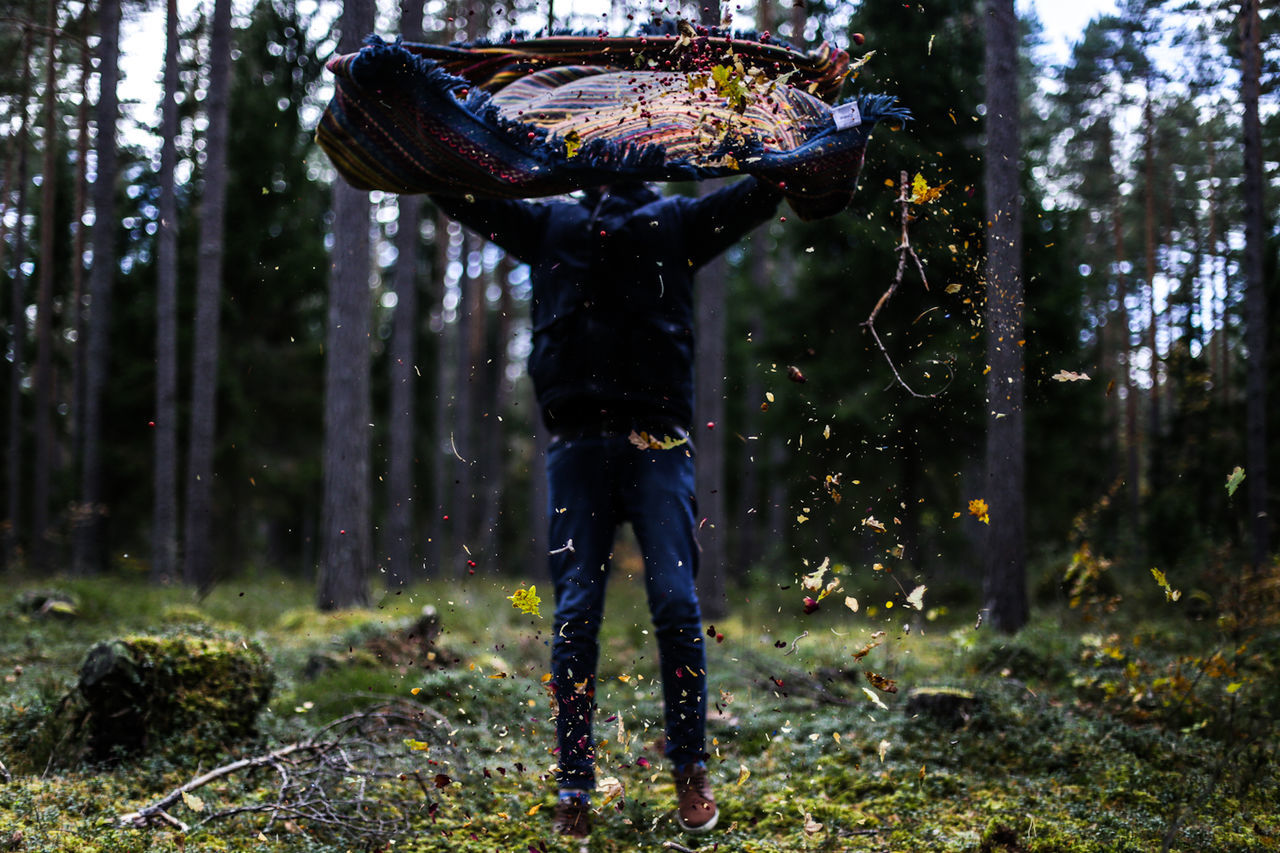 View Of Man Shaking Sleeping Bag In Forest