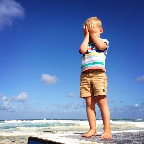 Little one hiding from the sun Sunshine Kids Kidsphotography Boy Children Child Blue Sky Bluesky Closed Eyes Peekaboo