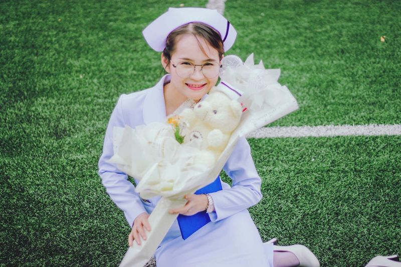 Nurse Thaigirls Goggles Thailand Grass Plant One Person Smiling Glasses Front View Young Adult Women Young Women Happiness Portrait Outdoors Green Color Beautiful Woman Leisure Activity Nature Day Eyeglasses  Real People Field