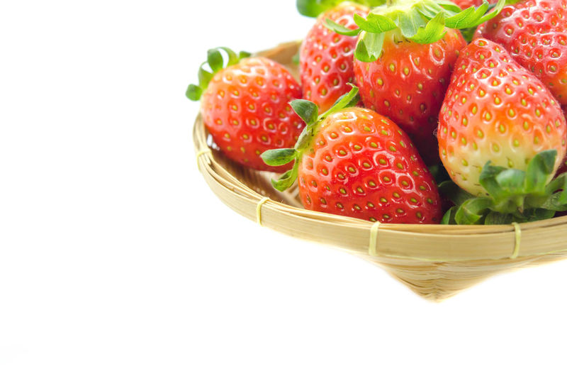 Basket Berry Fruit Close-up Container Copy Space Food Food And Drink Freshness Fruit Healthy Eating Indoors  Juicy No People Red Ripe Still Life Strawberry Studio Shot Wellbeing White Background Wicker