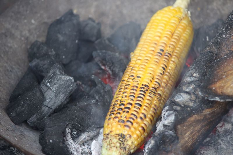 Corn Preparing On Charcoal